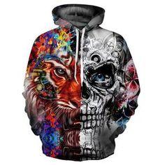 2a8d696fa4a5 New Fashion 3d Hoodies Men women 3d Sweatshirts Print Skulls Tiger Thin  Hooded Hoodies Tracksuits Hoody Tops