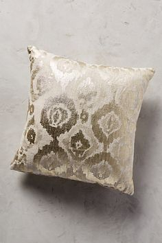 gold pillows a great option to brighten a space.  good for your family room  Metallic Ikat Pillow #anthropologie