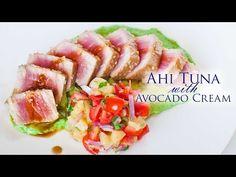 ahi tuna, seared ahi tuna, tuna recipe, dinner recipe, avocado cream, pineapple salad, video recipe, lunch recipe, healthy recipes, video recipe