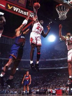 """Check out a few classic shots of Michael Jordan on the way to his third NBA Championship in the Air Jordan VIII """"Playoffs"""" colorway. Basketball Legends, Sports Basketball, Basketball Players, Basketball Jones, Dear Basketball, Basketball History, Basketball Uniforms, Basketball Sneakers, Sports Teams"""
