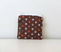 Dog Paw Prints Coin Pouch - Zippered - Small Pouch - Mini Coin Bag - Dog Lover Coin Purse - Boys Gift Idea - Michael Miller - Mod by BlackcatmeowDesigns on Etsy