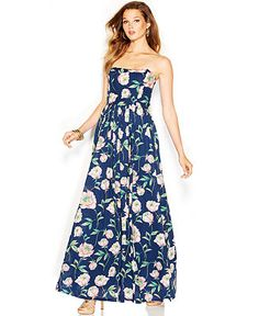 French Connection Strapless Floral-Print Maxi Dress - Dresses - Women - Macy's