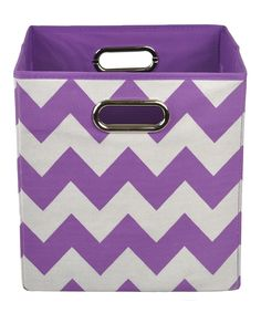 Purple Chevron Folding Storage Bin