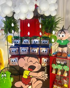 One of the coolest classes in the world is the theme chosen for many children's parties. Monica (and her inseparable Sansão), Cebolinha, Cascão, Magali Bento, It's Your Birthday, Birthday Parties, Candy Stand, Fun World, Guest Gifts, Crepe Paper, Felt Dolls, Baby Party