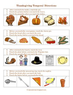 Ms. Lane's SLP Materials: Basic Concepts-Temporal Directions (Thanksgiving). Pinned by SOS Inc. Resources. Follow all our boards at pinterest.com/sostherapy for therapy resources.