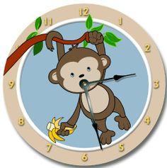 "MOD MONKEY wall art clock nursery large 10 1/2"" Fancy This,http://www.amazon.com/dp/B009BSI9NW/ref=cm_sw_r_pi_dp_pdvdtb0EVAFRW2T1"