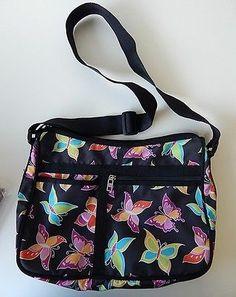 Butterfly Print Purse Big Shoulder Bag Light Nylon Black with Bright Butterflies | eBay