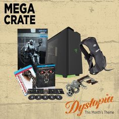 The theme is #DYSTOPIA but our #MegaCrate for June is anything but bleak!: A custom PC case from #NZXT; a #Fallout Vault-Tec Subpac wearable audio system; #Bioshock Sky-Hook Prop replica; #Robocop Hot Toys 1/6 scale figure; and the #Terminator anthology & Terminator: The Sarah Connor Chronicles on BluRay! by lootcrate