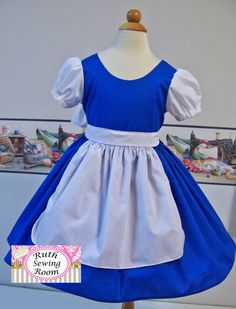 Belle Work Dress - Costume for Dress Up - Disney Princess - School Play Costume - Birthday Party - Blue Work Dress with Apron Tangled Dress, Rapunzel Dress, Peach Costume, Costume Dress, Belle Dress Up, Costume Birthday Parties, Rapunzel Costume, Disney Outfits, Disney Clothes