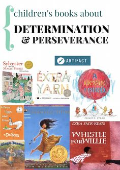 A collection of children's books tagged determination and perseverance.