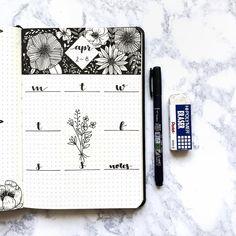 bullet journal idea   bujo weekly spread   negative black space   floral design