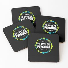 'traveler persona' Coasters by mikenotis Cool Coasters, Coaster Design, Persona, Samsung Galaxy, Printed, Awesome, People, Travel, Products
