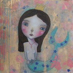 Acrylmalerei - Meerjungfrau Bild, Original Kunst - ein Designerstück von MissLillemor bei DaWanda