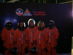 Emily, Jessica, and Megan rocking space suits during the SoMeTUS 2013 conference in Huntsville, Alabama