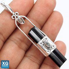 Black-Tourmaline-Rough-925-Sterling-Silver-Pendant-Jewelry-SP101793