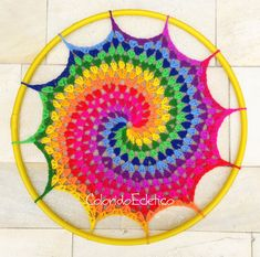This pattern is for a colorful doily made with wool yarn, for hook 5 mm. About 24 in diameter. Instructions easy to understand. This pattern is Crochet Home, Crochet Crafts, Yarn Crafts, Crochet Projects, Knit Crochet, Mandala Au Crochet, Crochet Doilies, Crochet Stitches, Crochet Patterns