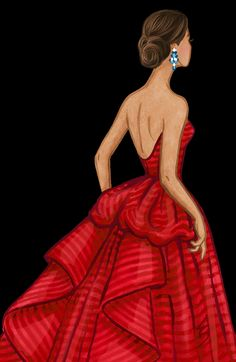 Lydia Snowden Illustration: Red striped evening gown. Fashion Illustration.