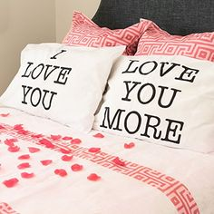 I Love You & Love You More Cotton Polyester Standard Size Pillowcase Pair for Bedroom, Home Decoration Set, Anniversary Valentine's Day Gift by Super Z Outlet Happy Valentines Day, Valentine Day Gifts, Kids Valentines, Valentine Heart, Notes Autocollantes, Dyi, Just Married Banner, Love You More, My Love