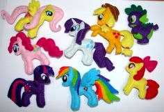 My little pony MLP felt brooch Rainbow Dash, Pinkie Pie, Twilight Sparkle, Fluttershy, Rarity, Applejack, Apple Bloom, Spike