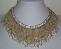 Vendome Amazing Vintage Seed Bead Faceted AB Glass Dangle Strands Bib Necklace | eBay