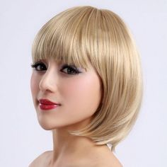 Capless Short Bob High Quality Synthetic Blonde Straight Hair Wig