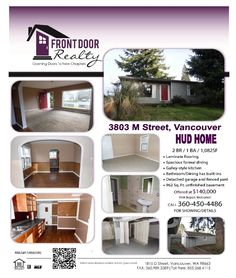 Real Estate for Sale at $140,000! Two Bedroom, one Bath, 1082 square foot sweet one level Rose Village HUD Bungalow on .12 acre lot located at 3803 M Street, Vancouver, Washington 98663. The listing agent is Julie Baldino with Front Door Realty located at 1815 D Street, Vancouver, Washington 98663. Her email address is julie@frontdoornw.com and her web site address is http://www.frontdoornw.com.