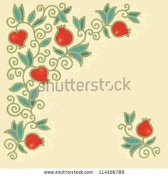 Decorative composition with pomegranate - vector by daniana, via Shutterstock
