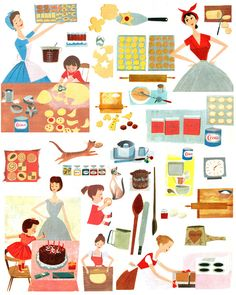 Mid Century Cookbook Graphics Graphic design by Dawn Gardner. Confessions of a Designer - Quotes from the world of design Graphic Desi. Illustrations Vintage, Children's Book Illustration, Vintage Ads, Vintage Images, Cristiana Couceiro, Vintage Housewife, Deco Retro, Vintage Cookbooks, Looks Cool