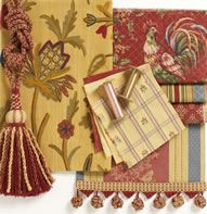 French Country VALANCE Waverly Fabric Saffron Red Gold Rooster - French french country fabrics