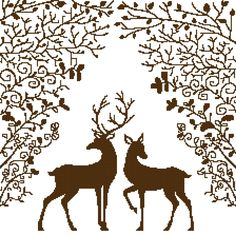 DEER COUPLE Counted Cross Stitch Pattern Chart - Animals & Insects Halloween Embroidery, Christmas Embroidery, Deer Coloring Pages, Theme Noel, Sewing Stitches, Plastic Canvas Crafts, Reno, Christmas Cross, Counted Cross Stitch Patterns