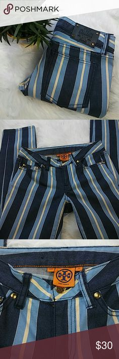 Tory Burch Stripes Jeans Pre loved in excellent condition outseam 36 inseam 27 waiste side to side 14 inches Tory Burch Jeans Skinny