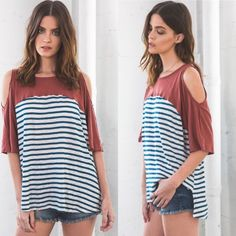 """❗️LAST ONE❗️Sail Away Cold Shoulder Top Retail NWT Sail Away Cold Shoulder Top 100% Cotton   Measurements Size Small Chest: 20"""" Length:27"""" Sleeve length:14""""   Bundles = 10% off & FREE Gift ❌ No Trades ❌ Low Ball Offers Blackberry Boutique Tops Tees - Short Sleeve"""