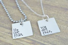 Sterling Silver We Got This His and Her Deployment Jewelry Necklace Set, Hand Stamped Jewelry, Personalized Jewelry by MissAshleyJewelry, $52.00