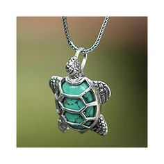 @Overstock - Symbol of patience and wisdom, a Chelonian turtle centers this fascinating necklace by Nyoman Rena. It is crafted by hand of sterling silver and reconstituted turquoise shell to resemble the green hue that makes Chelonia turtles unique.http://www.overstock.com/Worldstock-Fair-Trade/Sterling-Silver-Chelonia-Turtle-Recon-Turquoise-Necklace-Indonesia/6341184/product.html?CID=214117 $87.99
