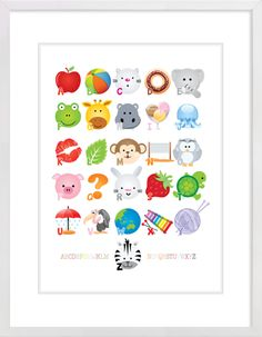 Alphabet Icons Nursery Wall Print to brighten up your kid's room. Artwork prices start at $7.00. #nurserywallprints #alphabet #icons