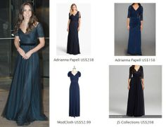 Kate Middleton Style Inspiration. SHOP these repliKates of the Jenny Packham ink blue gown