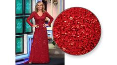 ADRIANNA PAPELL Red fully sequined gown w/v-neckline, long sleeves, flared hemline w/train | Vanna White's dresses | Wheel of Fortune