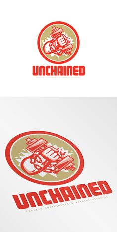 Unchained Protein Supplements Logo. Logo showing illustration of a hand holding lifting dumbbell weight with chains set inside circle done in retro style. 100% re-sizeable vectors. Logo