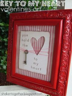 DIY Valentine's Day art with a vintage key.