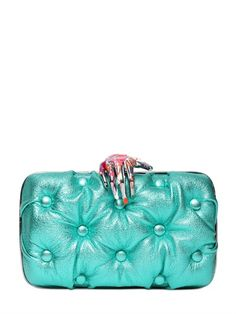 CARMEN QUILTED LAMINATED LEATHER CLUTCH