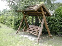 My brother in law Dodson is going to make me one of these. Yard Design, Its A Wonderful Life, Gliders, The Great Outdoors, Outdoor Gardens, Woodworking, Backyard, Rustic, Cool Stuff