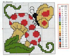 butterfly on mushroom Butterfly Stitches, Butterfly Cross Stitch, Mini Cross Stitch, Cross Stitching, Cross Stitch Embroidery, Cross Stitch Designs, Cross Stitch Patterns, Safety Pin Crafts, Broderie Simple