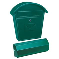 Mailboxes by Colour : Aosta-Set Green Steel Mailbox + Newspaper Holder