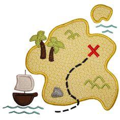 Pirate Map Applique (PA) 4x4, 5x7, 6x10 -- Own It