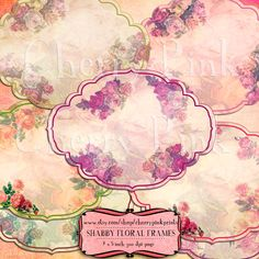 Scrapbook Frames, rose shabby chic frames and tags for use in scrapbooking, label making and invitations.