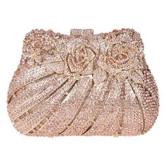 Bling Rose Clutch Purse Women Flower Rhinestone Crystal Clutch Bag... ($110) ❤ liked on Polyvore featuring bags, handbags, clutches, handbag purse, mini purse, rhinestone purses, evening bags and mini pochette