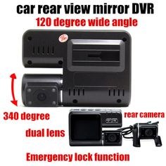 Dual Lens Car DVR With Rear view camera Car video Recorder camcorder 2 inch monitor 120 degree wide angle