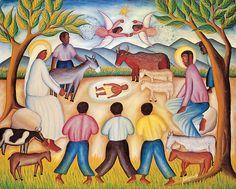 A Nativity scene by a Haitian artist reflects the island's tropical Christmas celebration. Caribbean Christmas, Tropical Christmas, Beach Christmas, Christmas 2014, Vintage Christmas, Xmas, Popular Art, Arte Popular, Black Jesus