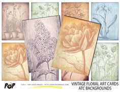 VINTAGE Floral Art Cards ATC ACEO Backgrounds - Collage - Altered Art - Journaling Cards - Digital Scrapbooking - Tags