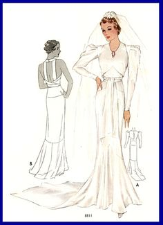 McCall 8811 | 1936 Bridal Gown by Martial et Armand
